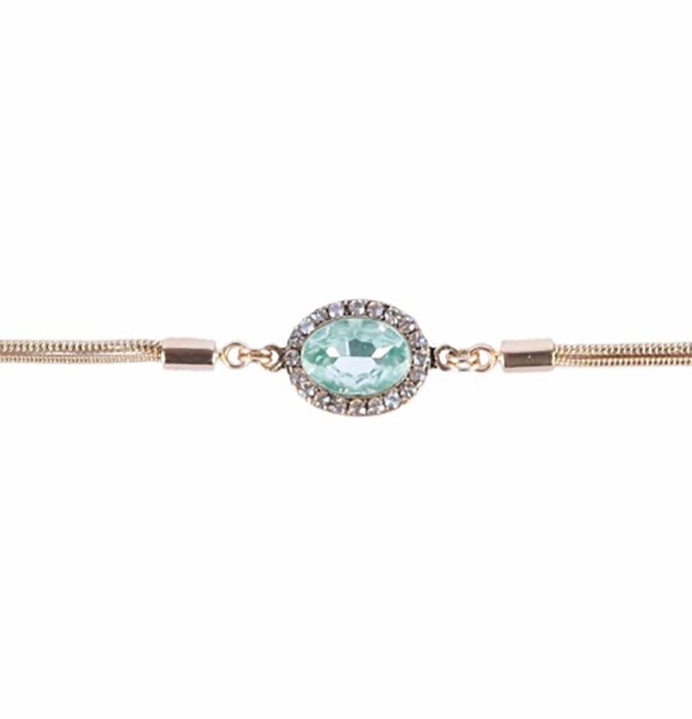 Pulseira Armazem RR Bijoux corrente cristal oval verde