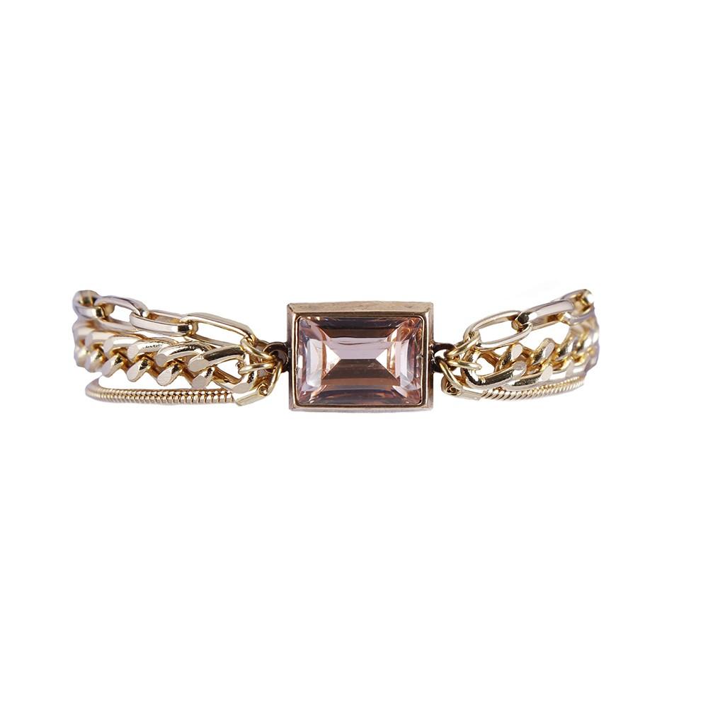 Pulseira Armazem RR Bijoux correntes cristal rose dourado