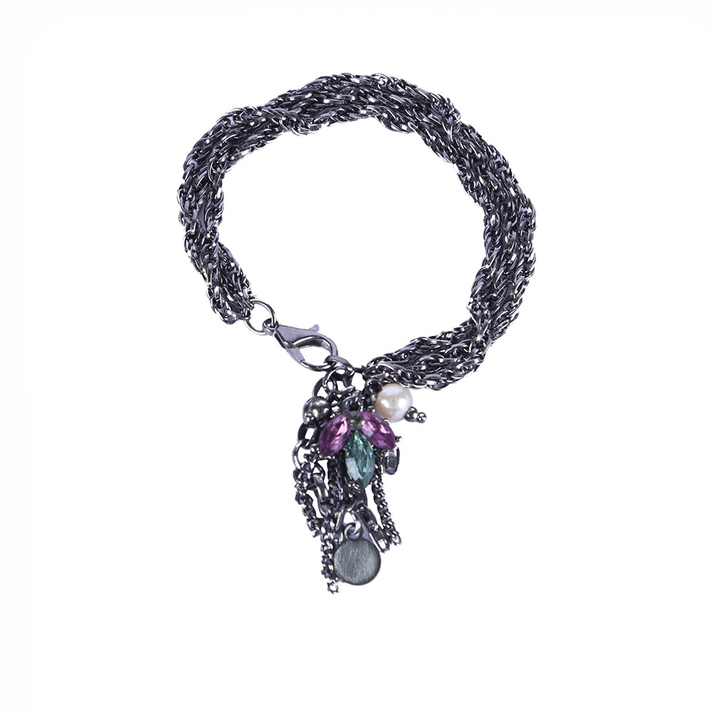 Pulseira Armazem RR Bijoux correntes e pingentes com cristais