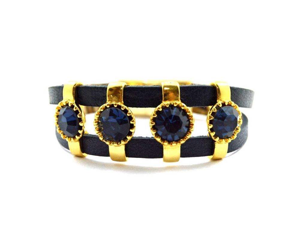 Pulseira Armazem RR Bijoux couro 4 cristais azul