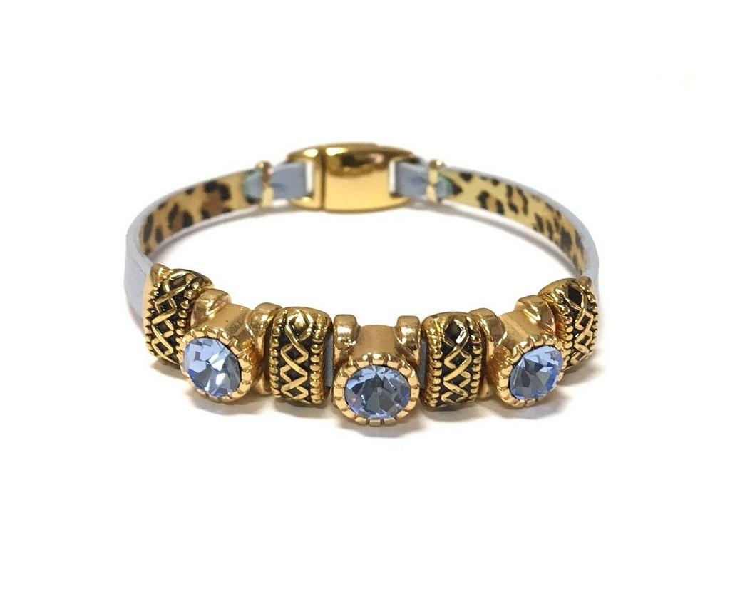 Pulseira Armazem RR Bijoux couro cristal azul
