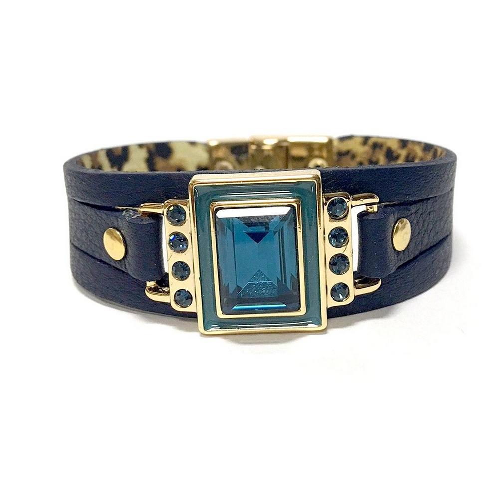 Pulseira Armazem RR Bijoux couro cristal quadrado azul