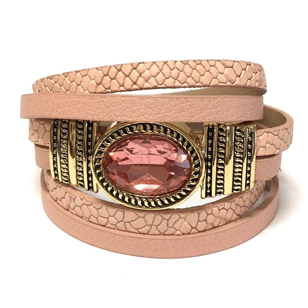 Pulseira Armazem RR Bijoux couro cristal rosa