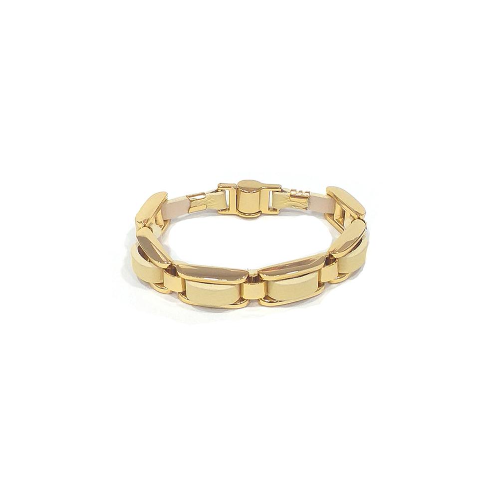 Pulseira Armazem RR Bijoux couro entrelaçada amarela dourado