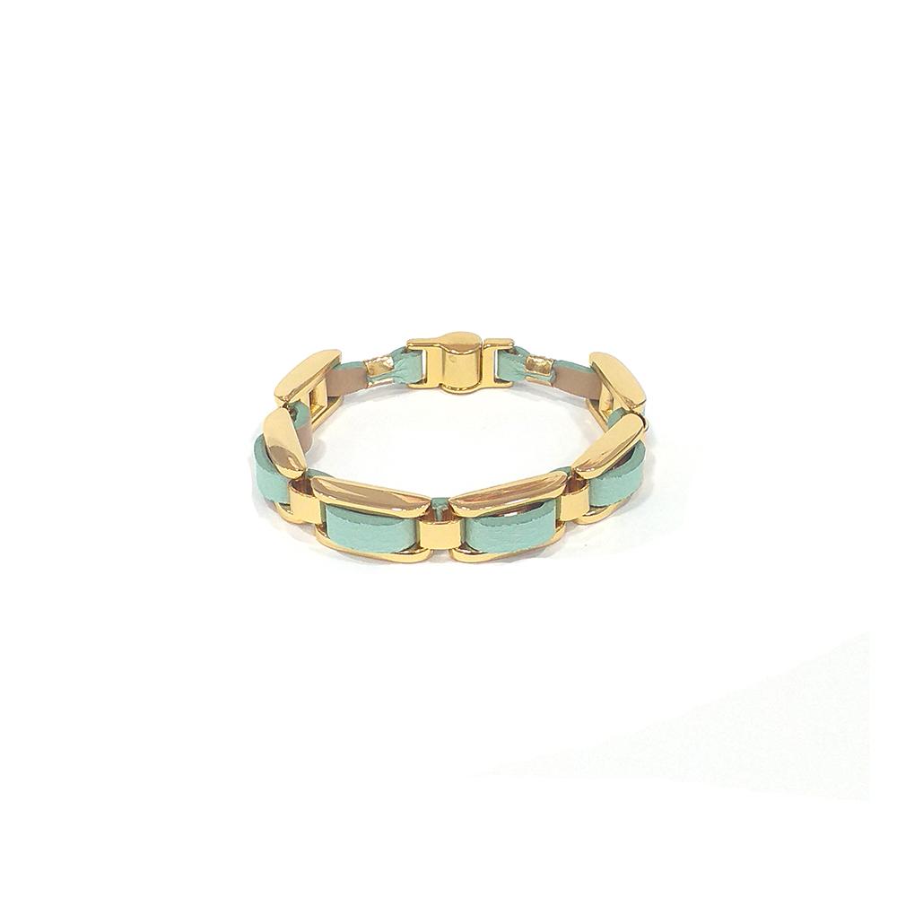 Pulseira Armazem RR Bijoux couro entrelaçada verde dourado