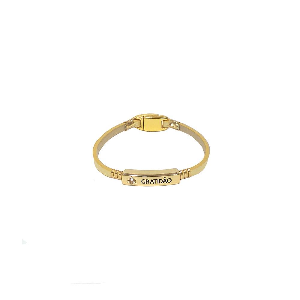 Pulseira Armazem RR Bijoux couro gratidão amarela dourado