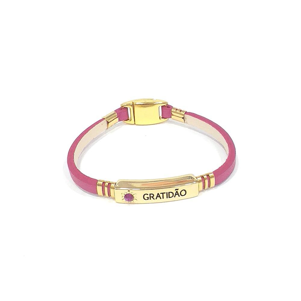 Pulseira Armazem RR Bijoux couro gratidão pink dourado