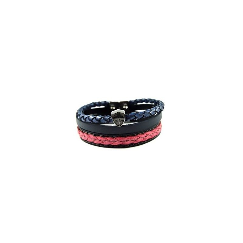 Pulseira Armazem RR Bijoux couro masculina 3 voltas azul e vermelha
