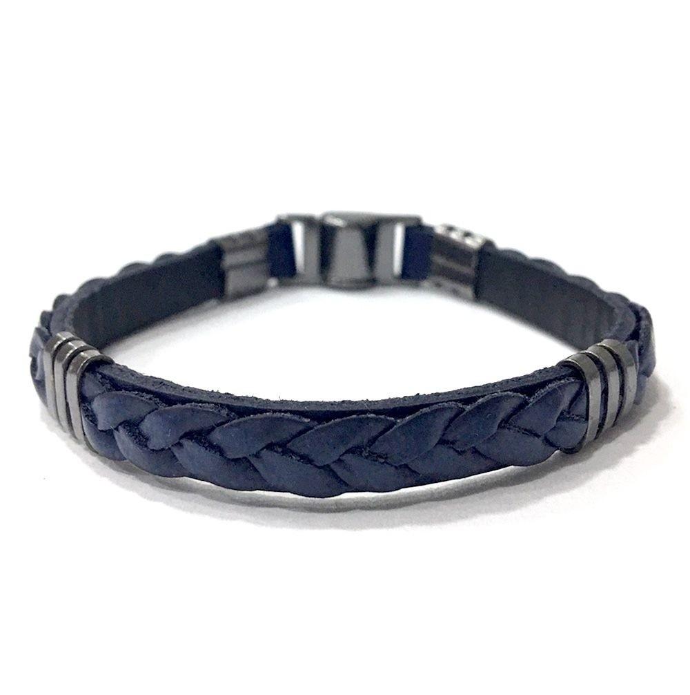 Pulseira Armazem RR Bijoux couro masculina trançada sobreposta azul marinho