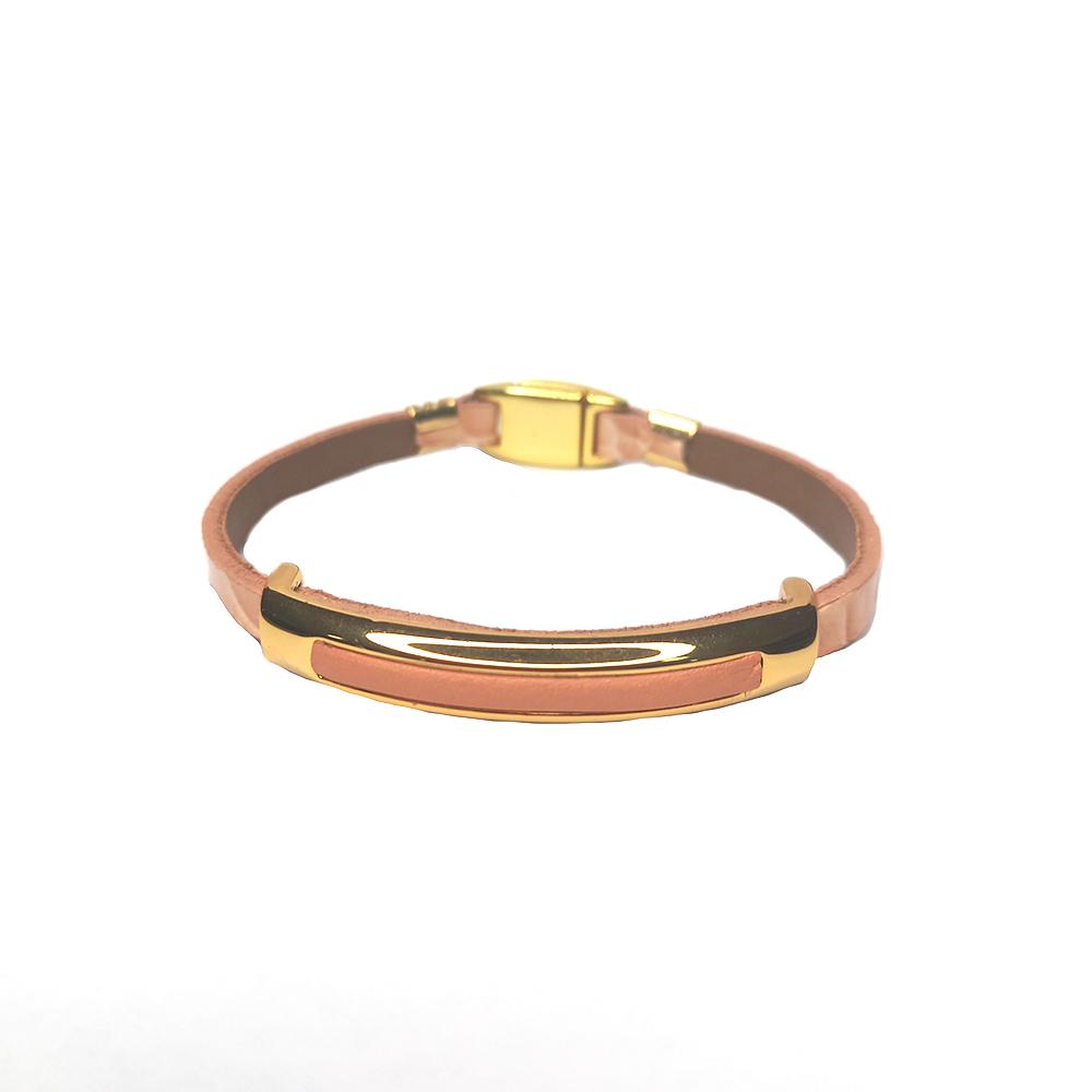 Pulseira Armazém RR Bijoux couro metal dourado rosa