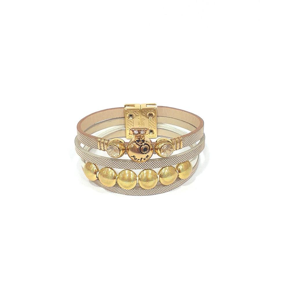 Pulseira Armazem RR Bijoux couro Parfum cristais areia dourado