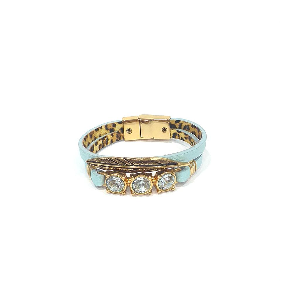Pulseira Armazem RR Bijoux couro pena e cristais azul claro dourado