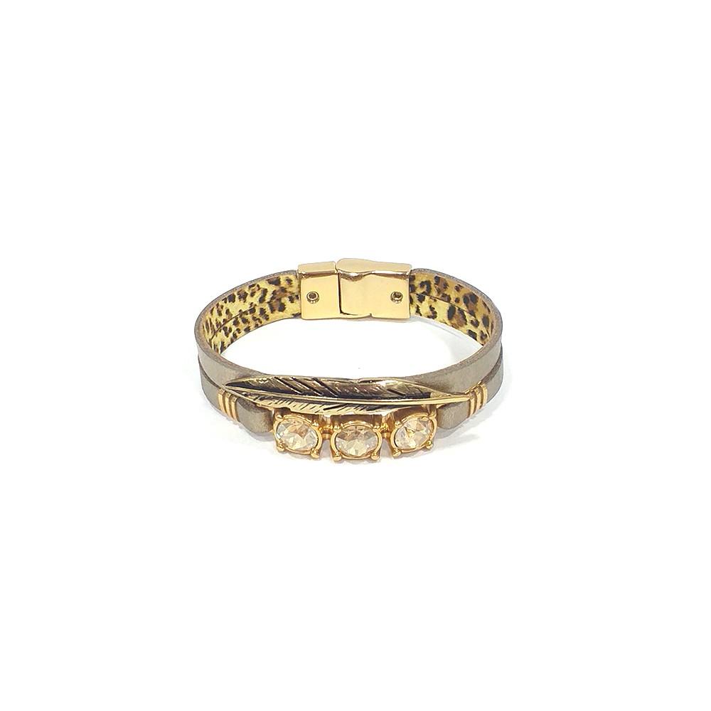 Pulseira Armazem RR Bijoux couro pena e cristais metalizada dourado