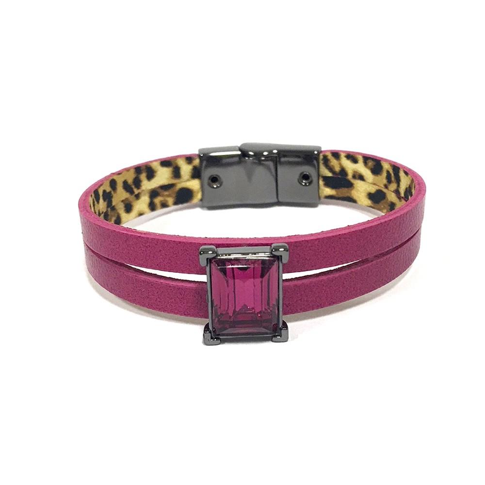 Pulseira Armazem RR Bijoux couro pink
