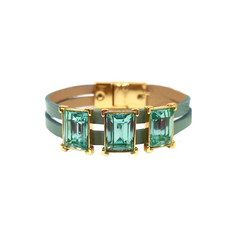 Pulseira Armazem RR Bijoux couro três cristais azul