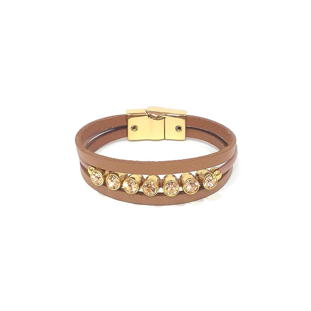 Pulseira Armazem RR Bijoux couro três voltas cristais nude dourado