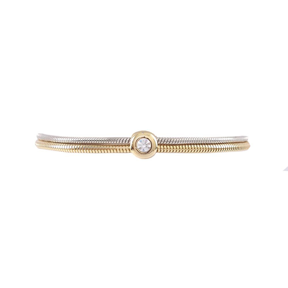 Pulseira Armazem RR Bijoux cristal correntes prata e dourado