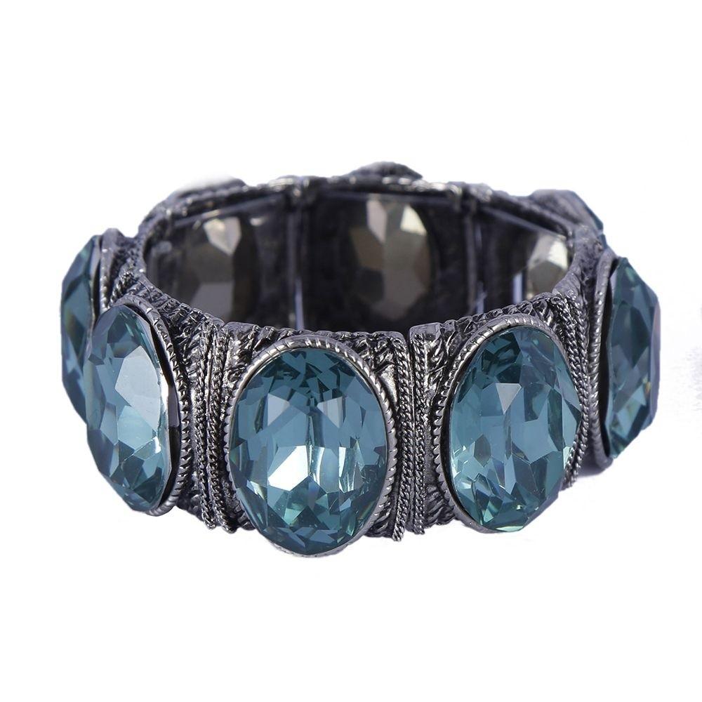 Pulseira Armazem RR Bijoux cristal oval azul