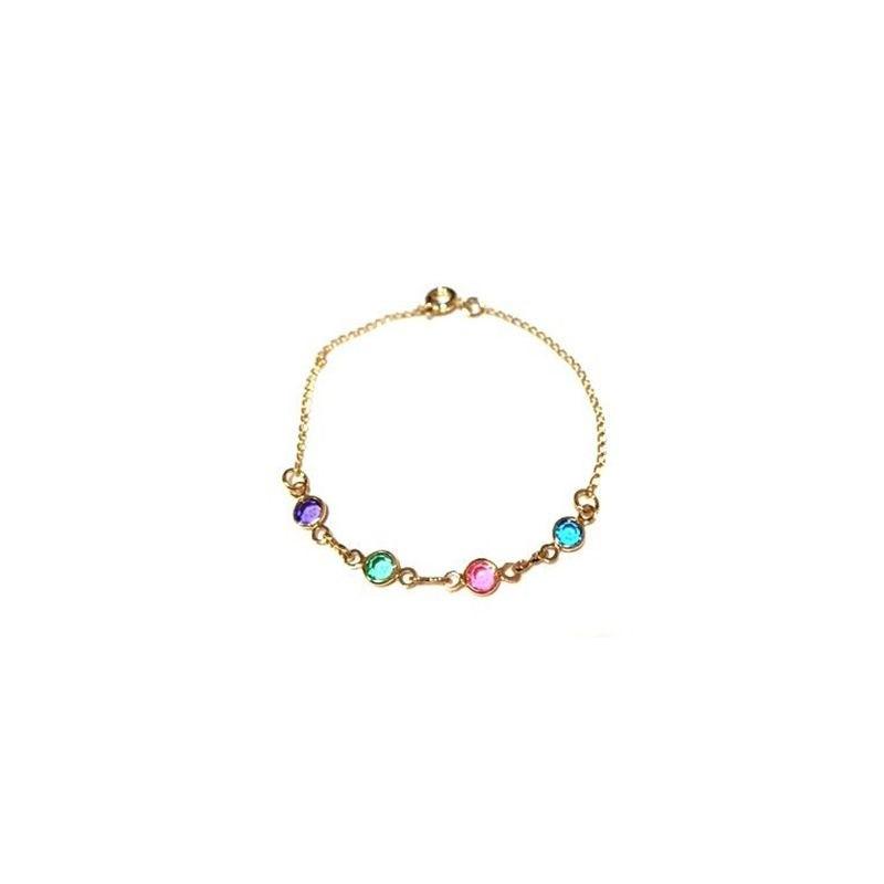 Pulseira Armazem RR Bijoux infantil cristais coloridos