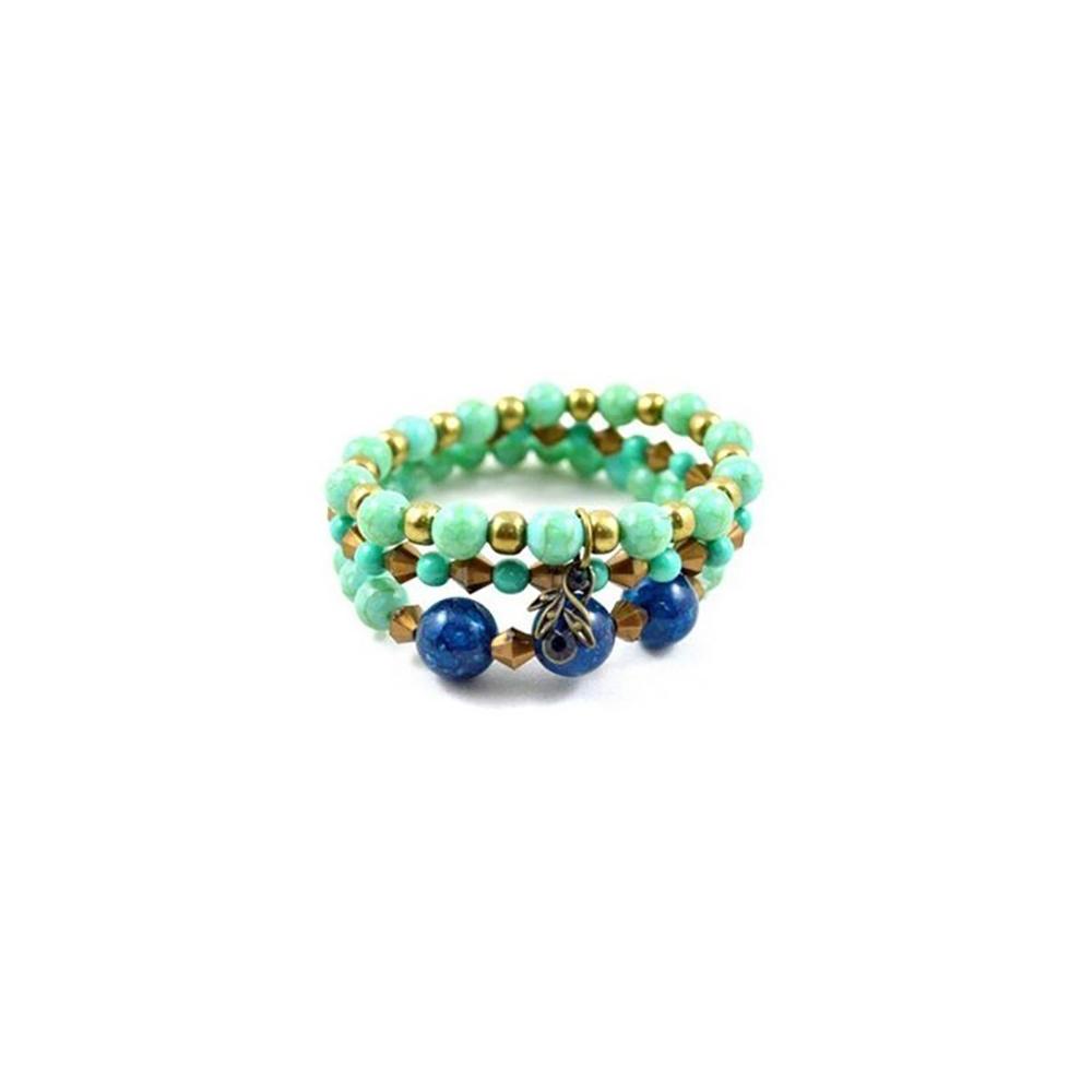 Pulseira Armazem RR Bijoux tripla azul ouro velho