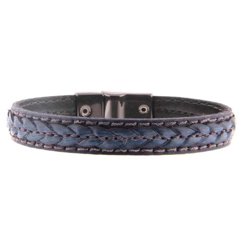 Pulseira couro Armazem RR Bijoux masculina trançada azul marinho