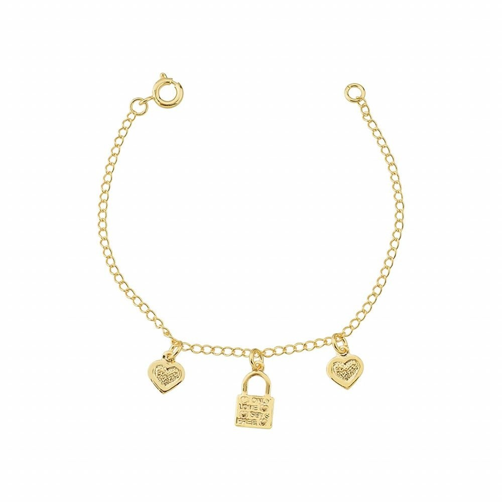 Pulseira infantil Armazem RR Bijoux cadeado coração ouro