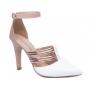 Sapato Scarpin Branco e Dourado Torricella