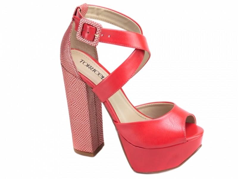 Sandália Salto Bloco Torricella Vermelha