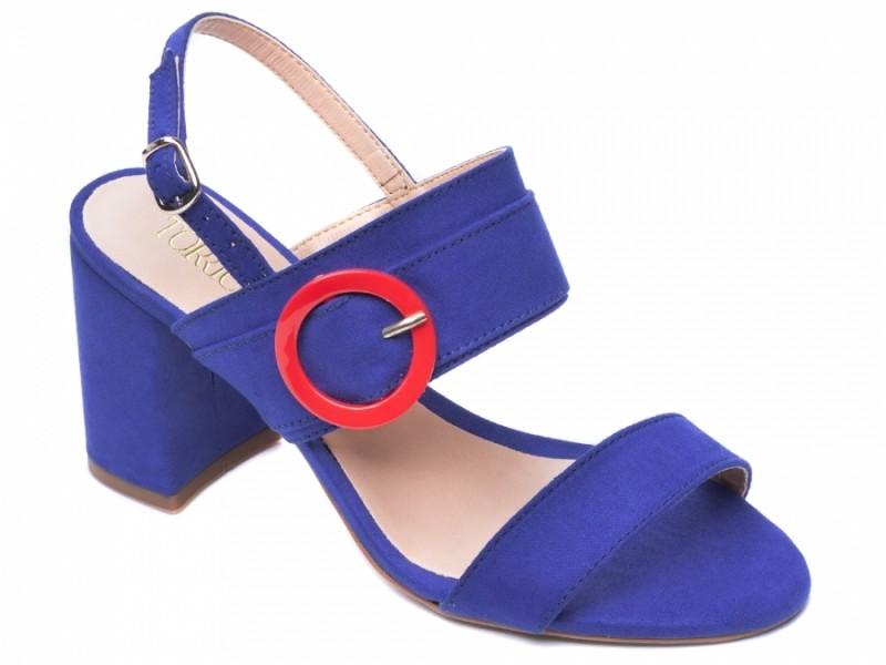 Sandália Salto Grosso Azul Anil