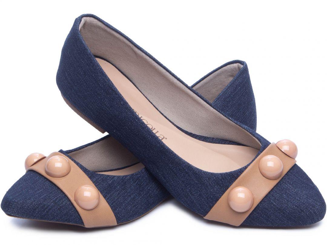 Sapatilha Feminina Torricella Jeans detalhe Bege