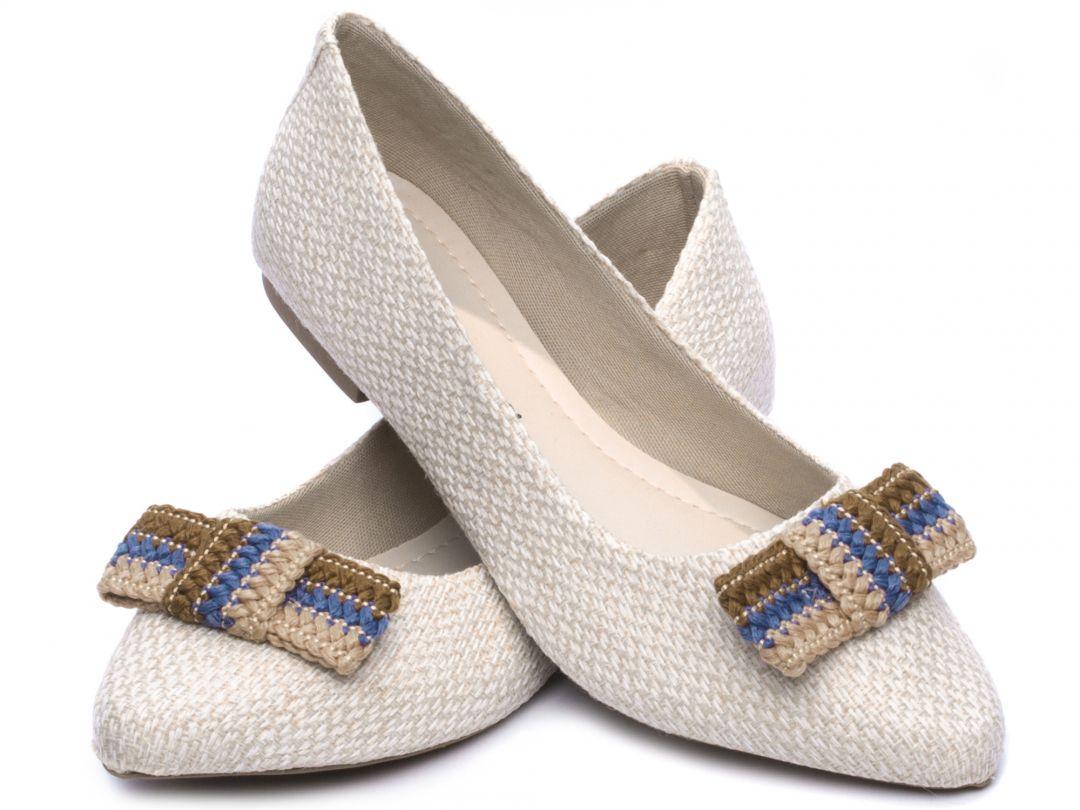 Sapatilha Feminina Torricella Tecido Off White Laço em Crochê