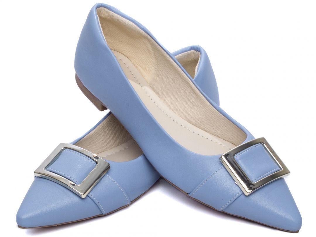 Sapatilha Feminina Torricella Napa Azul Bico Fino