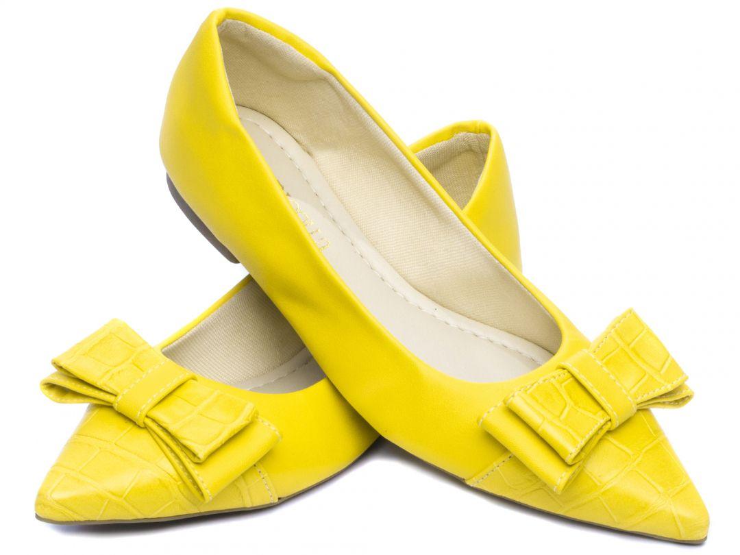 Sapatilha Feminina Torricella Napa Amarelo Bico Fino
