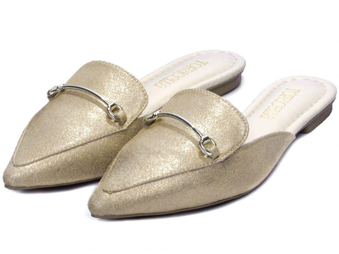 Sapatilha Mule Feminina Dourado Torricella