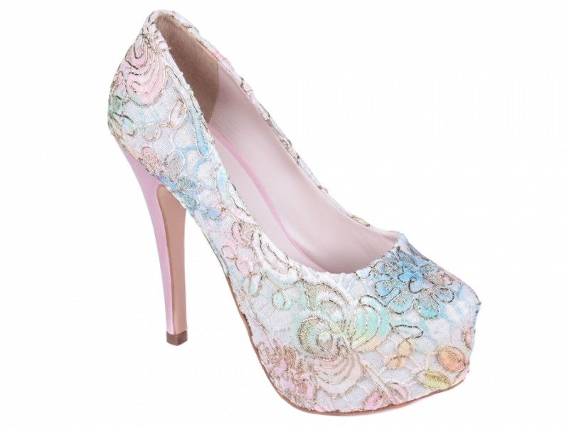 Sapato Peep Toe Floral Torricella