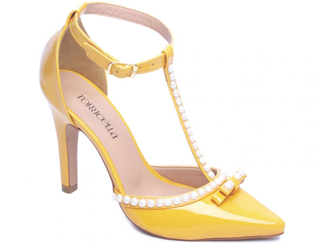 Sapato Scarpin Verniz Amarelo Enfeite Perola