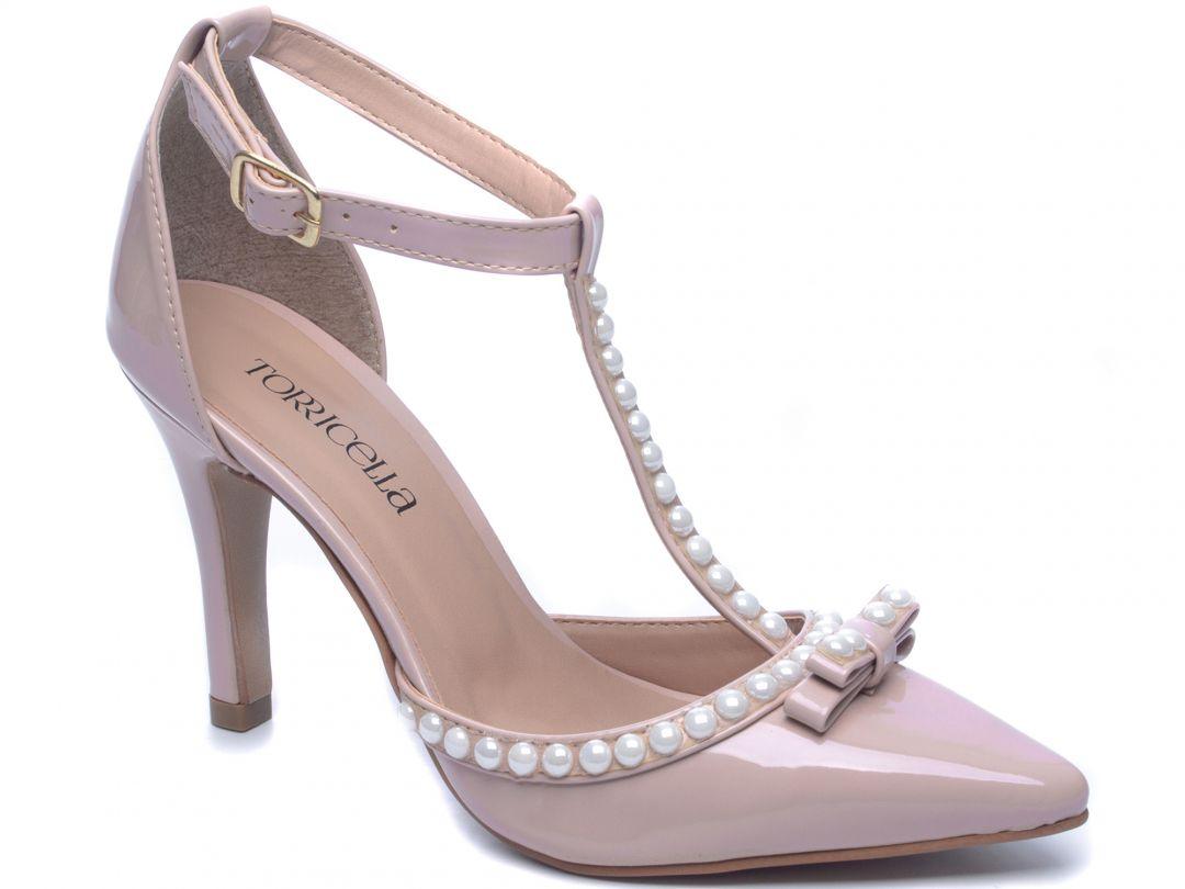 Sapato Scarpin Verniz Rosê Enfeite Perola