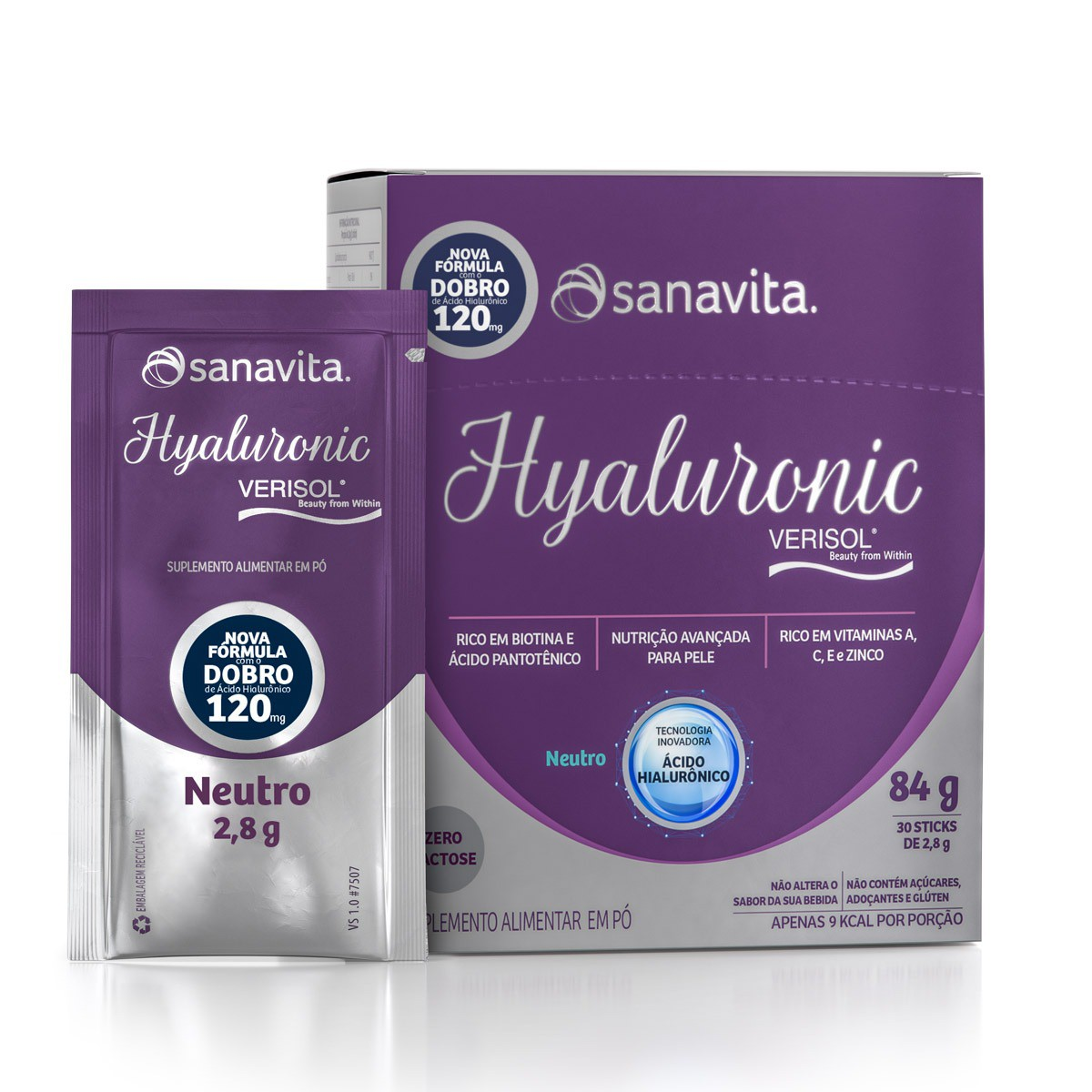 HYALURONIC PREMIUM NEUTRO VERISOL  Display 30 Sticks. Sanavita