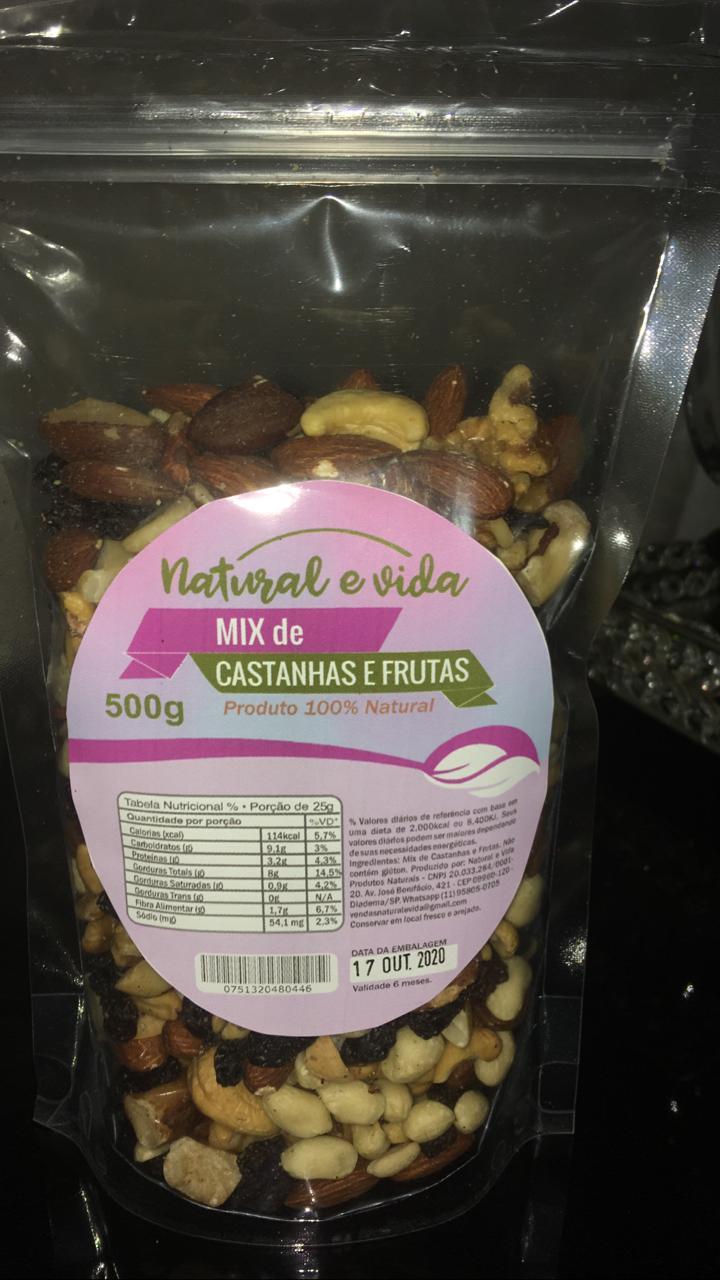 Mix de Castanhas e Frutas 500 Gramas - Natural e Vida