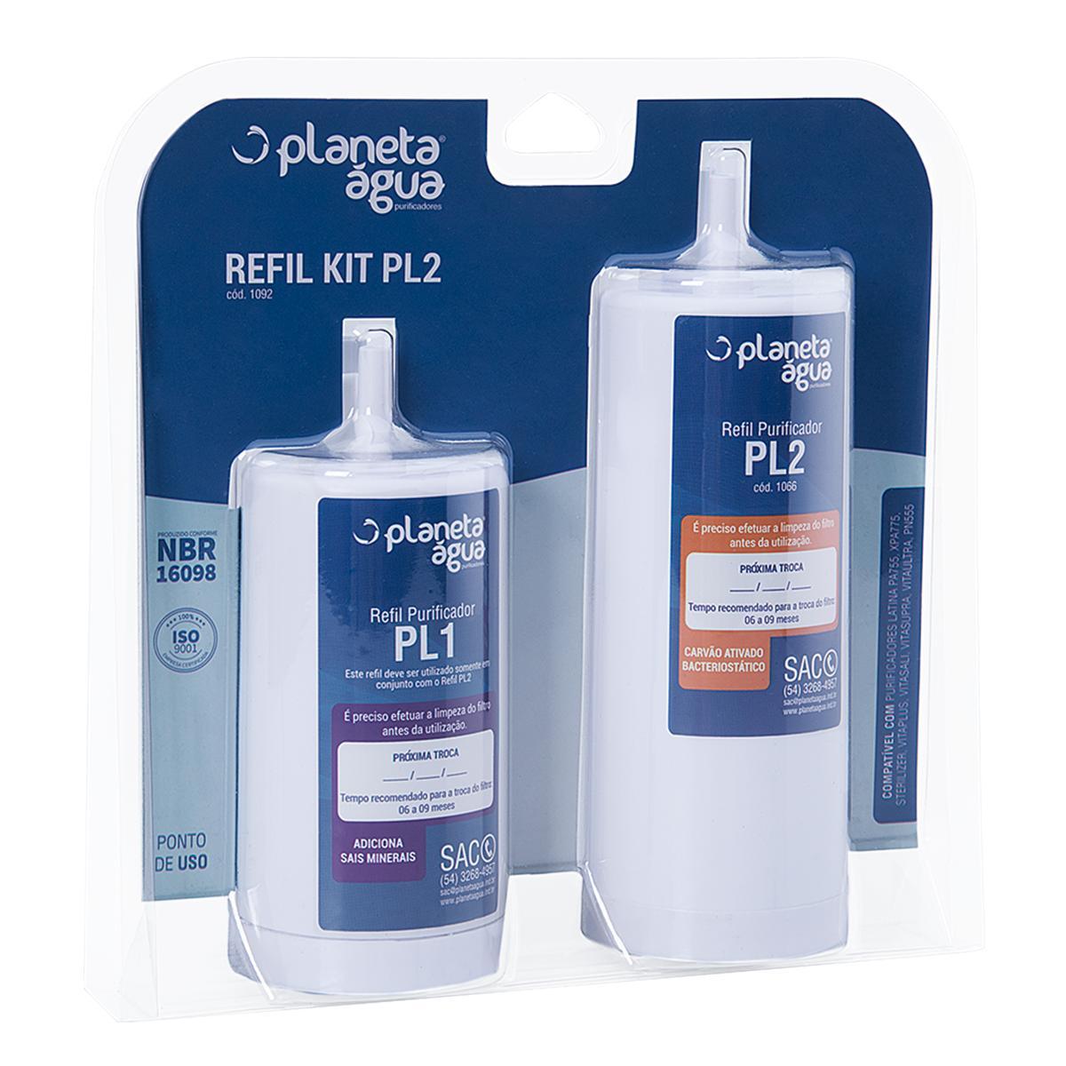 Refil  KIT PL2 para purificadores Latina Mineralizer, PA735, PA755, XPA775, Sterelizer, PN555, Vita Plus, Vita Sali, Vita Supra, Vita Ultra - Similar