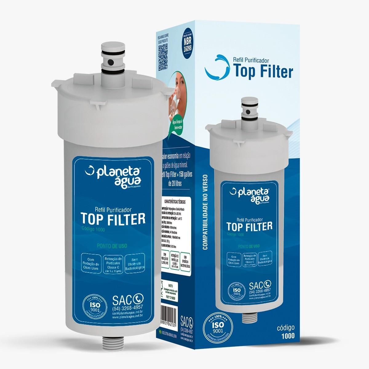 Refil TOP FILTER para purificadores Filter Planeta Água, Durin H2O, Impac Cristal, Mallory e Mondial - Similar