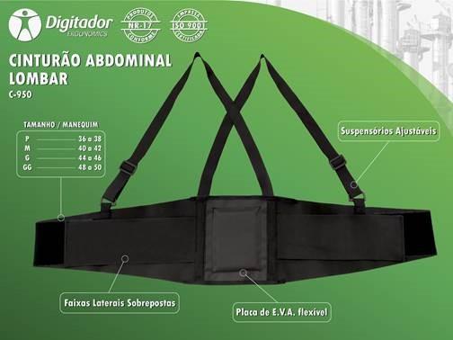 CINTA LOMBAR ERGONÔMICA COM SUSPENSÓRIO BELT DIGITADOR C-950