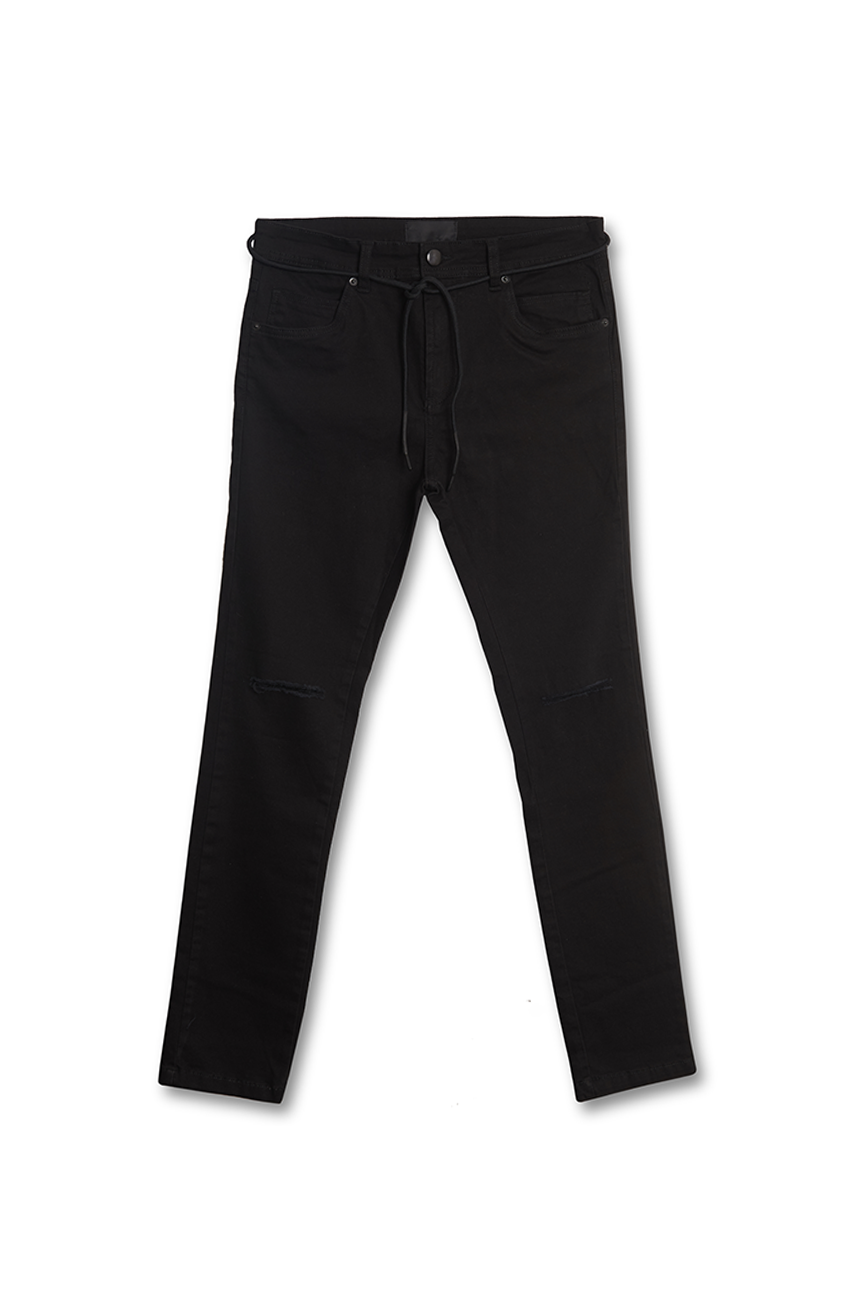 Calça Stretch Skinny Riped - Preto