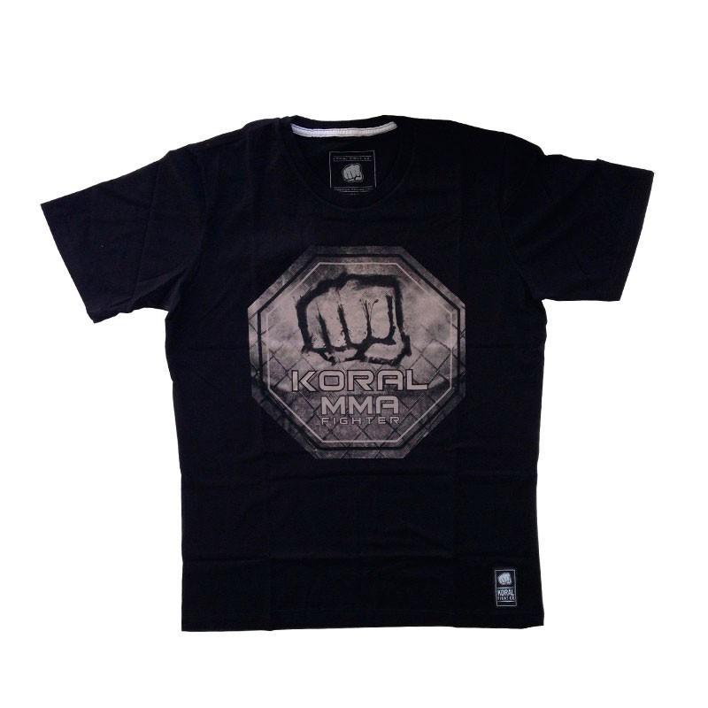 Camiseta Jiu Jitsu Koral MMA Octógono Preta Cinza