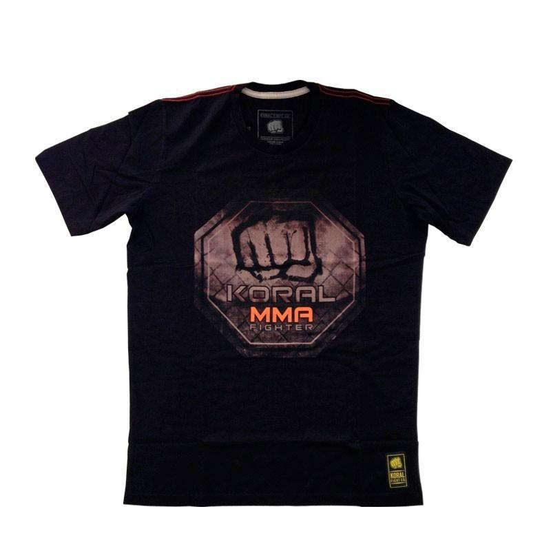 Camiseta Jiu Jitsu Koral MMA Octógono Preta Laranja