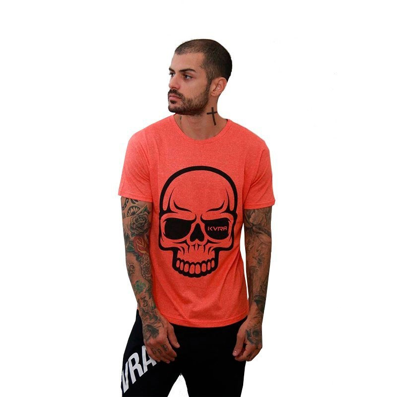 Camiseta Jiu Jitsu Kvra New Full Skull Laranja