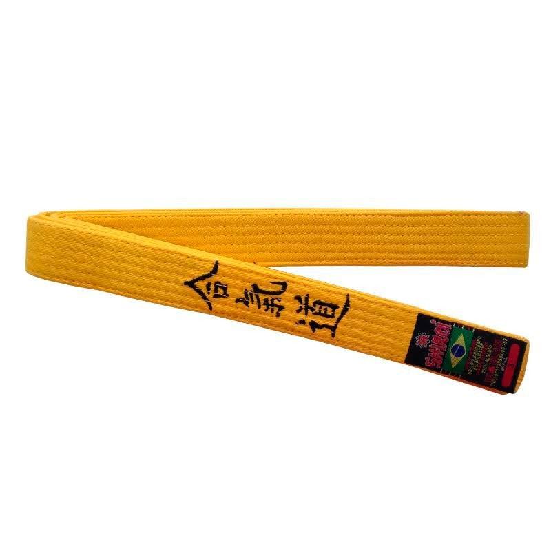 Faixa Aikido Shiroi Bordada Padrão Amarela