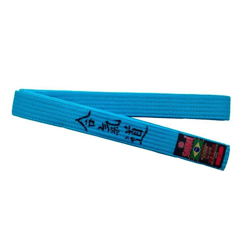 Faixa Aikido Shiroi Bordada Padrão Azul Celeste