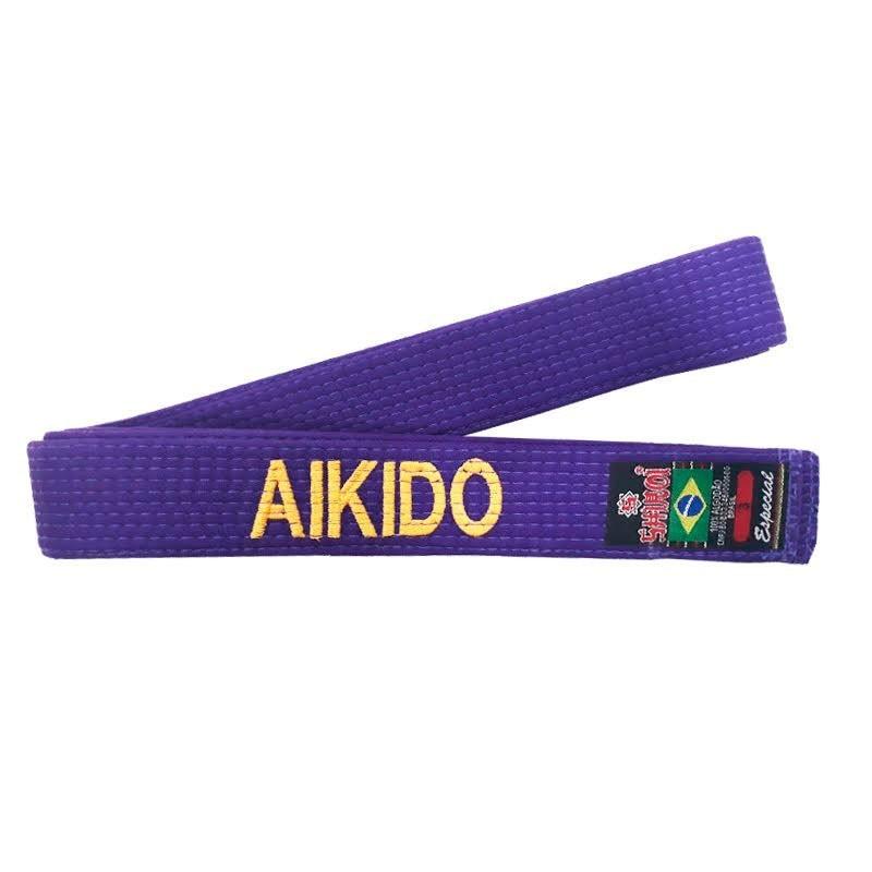 Faixa Aikido Shiroi Bordada Português Especial Roxa