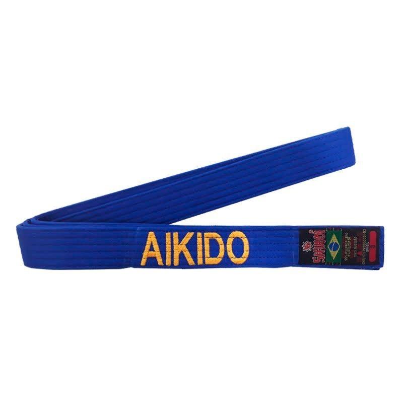 Faixa Aikido Shiroi Bordada Português Padrão Azul Royal